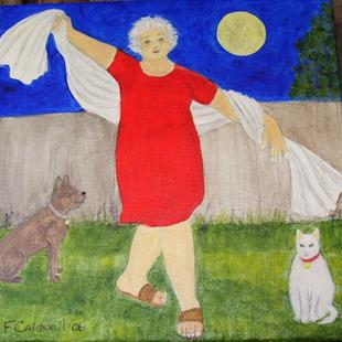 Art: Gran and That Full Moon (SOLD) by Artist Fran Caldwell