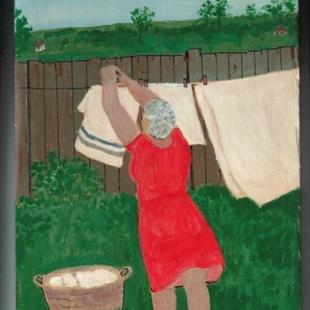 Art: Gran Likes a Good Drying Day (SOLD) by Artist Fran Caldwell
