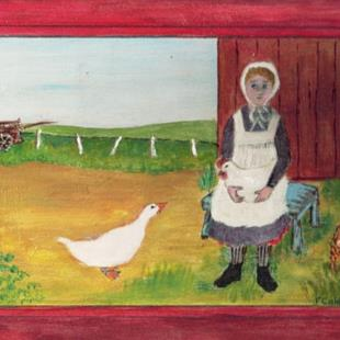 Art: Gathering the Eggs (SOLD) by Artist Fran Caldwell