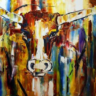 Art: Texas Longhorn Five by Artist Laurie Justus Pace