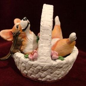 Art: Welsh Corgi in Basket by Artist Camille Meeker Turner
