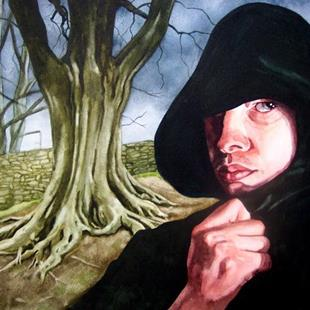 Art: Self Portrait In Black Hood by Artist Mark Satchwill