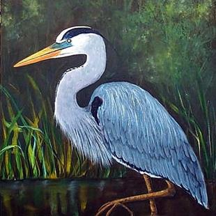 Art: Blue Heron - sold by Artist Ulrike 'Ricky' Martin