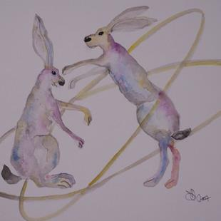 Art: BOXING HARES h543 by Artist Dawn Barker