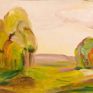 Art: Landscape in Yellow and  Purple by Artist Delilah Smith