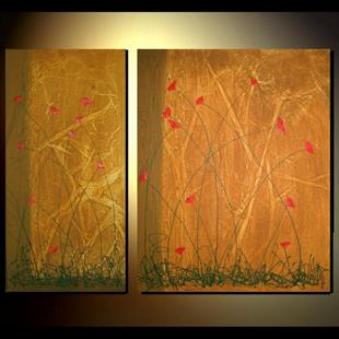 Art: Abstract Tuscan Poppies by Artist Charlene Murray Zatloukal
