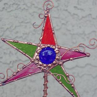 Art: Magic Wand Stained Glass Garden Stake by Artist Dianne McGhee