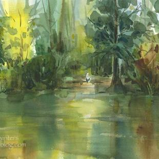 Art: Fulmer Lake, Idyllwild watercolor painting by Artist Karen Winters