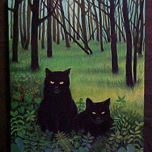 Art: FOREST CATS by Artist Rosemary Margaret Daunis