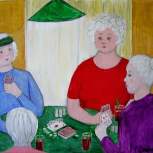 Art: Gran Has The Girls Over for Coffee (Sold) by Artist Fran Caldwell