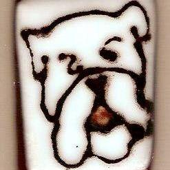 Art: Fused Glass Bulldog brooch by Artist Deborah Sprague