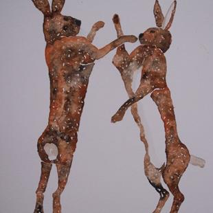 Art: BOXING HARES h569 by Artist Dawn Barker