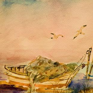 Art: Old Fishing Boat-sold by Artist Delilah Smith