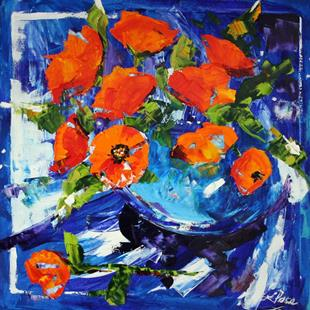 Art: Pot of Orange Poppies by Artist Laurie Justus Pace