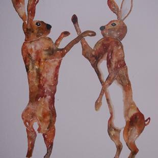 Art: BOXING HARES h573 by Artist Dawn Barker