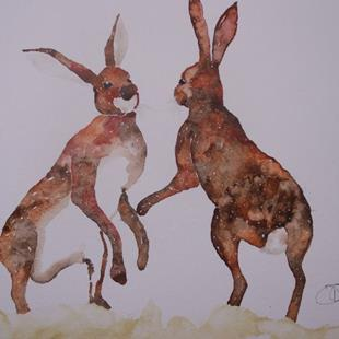 Art: BOXING HARES h574 by Artist Dawn Barker
