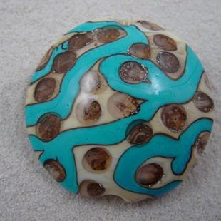 Art: Ambrosia *SILVER DOTS 2* Lampwork FOCAL Bead Handmade - SOLD by Artist Bonnie G Morrow