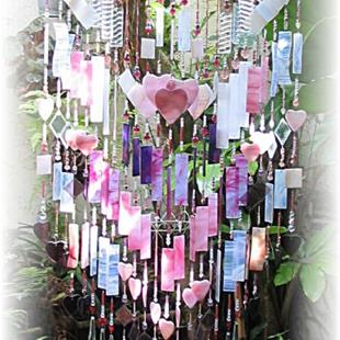 Art: Think Pink Stained Glass Wind Chime by Artist Darlene Dunat