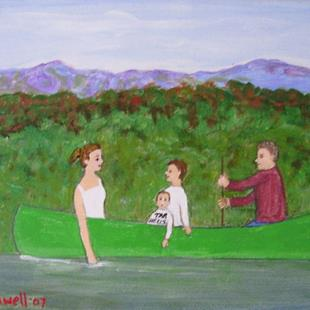 Art: Canoeing (Commission) by Artist Fran Caldwell