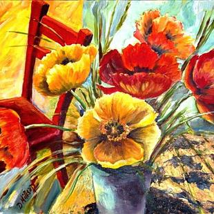 Art: Poppies with Red Chair by Artist Diane Millsap