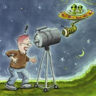 Art: UFO Aliens and Little Green Men by Artist Ann Murray