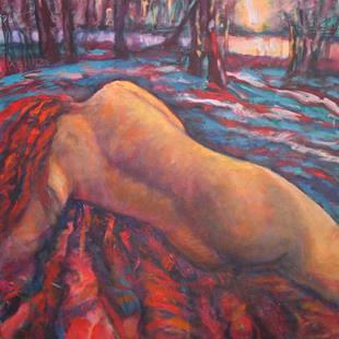 Art: Reclining Nude in Landscape I (sold) by Artist Virginia Ann Zuelsdorf