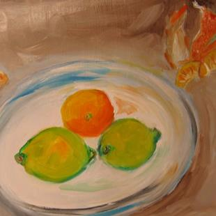 Art: Limes and Orange-sold by Artist Delilah Smith