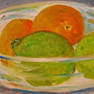 Art: Bowl of Limes and Orange-sold by Artist Delilah Smith