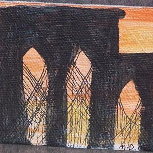 Art: Brooklyn Bridge at Dusk by Artist Nancy Denommee