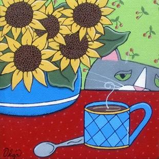 Art: ~Sunflowers & Grey Earl~ by Artist S. Olga Linville