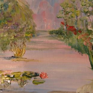 Art: Lilies at the Pond by Artist Delilah Smith