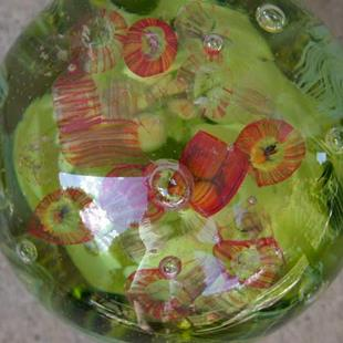 Art: Fused Glass Crystal Ball/Paperweight Sargaso Sea Jellyfish & Seaweed SOLD by Artist Ann Murray