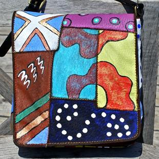 Art: Happy Patterns (leather handbag purse) by Artist Diane G. Casey