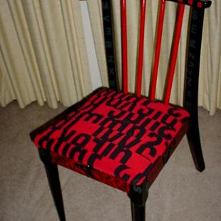 Art: Red Black Letters Chair by Artist Vicky Helms