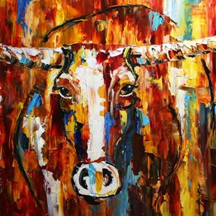 Art: Wyoming Longhorn by Artist Laurie Justus Pace