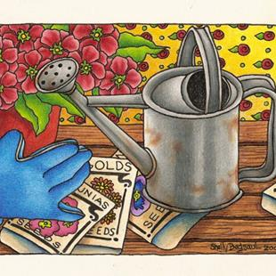 Art: The Potting Bench (sold) by Artist Shelly Bedsaul