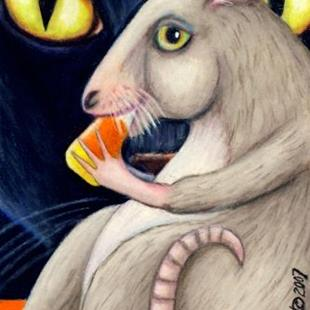 Art: Cat, Rat and Candy Corn Halloween ACEO by Artist Lisa M. Nelson