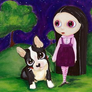 Art: Blythe Girl with Pityy Puppy by Artist Noelle Hunt
