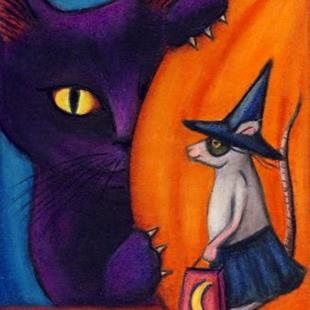 Art: Black Cat and Halloween Rat ACEO by Artist Lisa M. Nelson