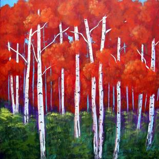 Art: Abstract Red Aspens by Artist Diane Funderburg Deam