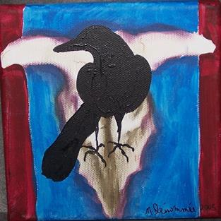 Art: Red, White and Blue with Skull and Crow by Artist Nancy Denommee
