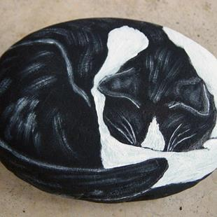 Art: Sleeping Black and White by Artist Tracey Allyn Greene
