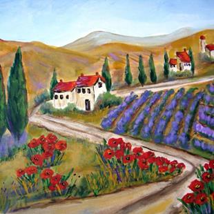 Art: Poppies and Lavender by Artist Diane Funderburg Deam