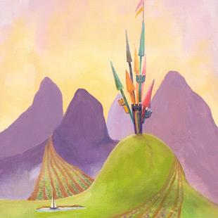 Art: Whimsical Castle on Hill    by Artist Cynthia Schmidt
