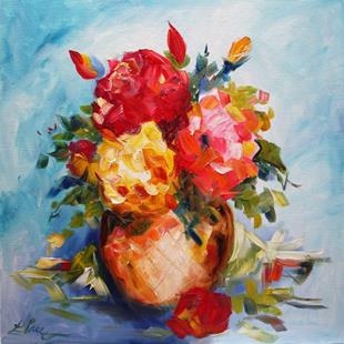 Art: Roses Full Bloom on Blue by Artist Laurie Justus Pace