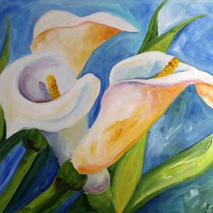 Art: Three Calla Lilies by Artist Laurie Justus Pace