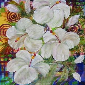 Art: WHITE HIBISCUS  #1378E -sold by Artist Ke Robinson