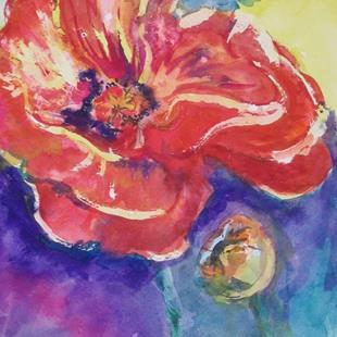 Art: Watercolor Poppies by Artist Delilah Smith
