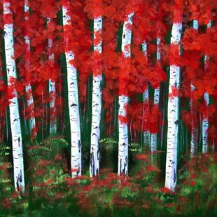Art: Red Fire Aspens by Artist Diane Funderburg Deam