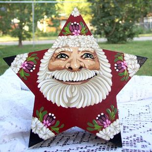Art: Santa Star Box small (sold) by Artist Shelly Bedsaul